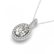 Diamond Halo Oval Pendant Necklace 14k White Gold (2.76ct)