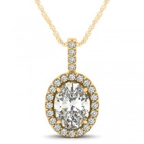 Diamond Halo Oval Pendant Necklace 14k Yellow Gold (2.76ct)