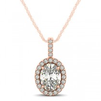 Diamond Halo Oval Pendant Necklace 14k Rose Gold (0.93ct)