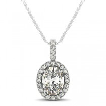 Diamond Halo Oval Pendant Necklace 14k White Gold (0.93ct)