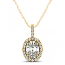 Diamond Halo Oval Pendant Necklace 14k Yellow Gold (0.93ct)