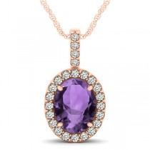 Amethyst & Diamond Halo Oval Pendant Necklace 14k Rose Gold (2.62ct)