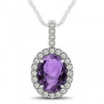 Amethyst & Diamond Halo Oval Pendant Necklace 14k White Gold (2.62ct)