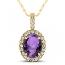Amethyst & Diamond Halo Oval Pendant Necklace 14k Yellow Gold (2.62ct)