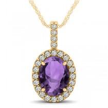 Amethyst & Diamond Halo Oval Pendant Necklace 14k Yellow Gold (2.62ct)