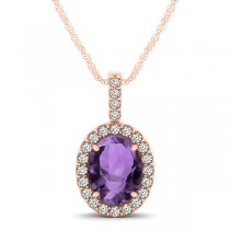 Amethyst & Diamond Halo Oval Pendant Necklace 14k Rose Gold (1.02ct)
