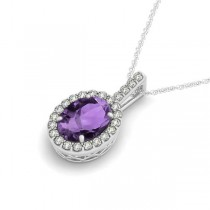 Amethyst & Diamond Halo Oval Pendant Necklace 14k White Gold (1.02ct)
