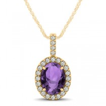 Amethyst & Diamond Halo Oval Pendant Necklace 14k Yellow Gold (1.02ct)