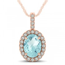 Aquamarine & Diamond Halo Oval Pendant Necklace 14k Rose Gold (2.47ct)
