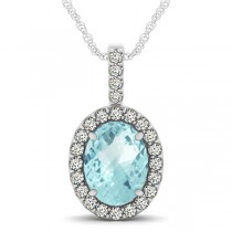 Aquamarine & Diamond Halo Oval Pendant Necklace 14k White Gold (2.47ct)