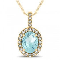 Aquamarine & Diamond Halo Oval Pendant Necklace 14k Yellow Gold (2.47ct)