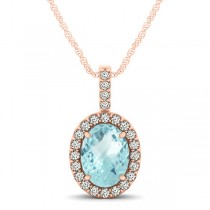 Aquamarine & Diamond Halo Oval Pendant Necklace 14k Rose Gold (0.92ct)