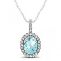 Aquamarine & Diamond Halo Oval Pendant Necklace 14k White Gold (0.92ct)