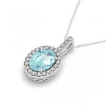 Aquamarine & Diamond Halo Oval Pendant Necklace 14k White Gold (0.92ct)