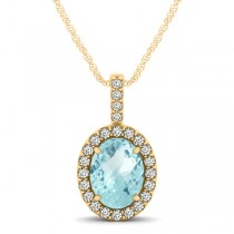 Aquamarine & Diamond Halo Oval Pendant Necklace 14k Yellow Gold (0.92ct)