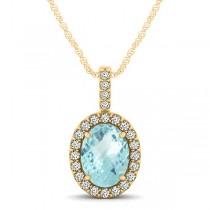 Aquamarine & Diamond Halo Oval Pendant Necklace 14k Yellow Gold (0.92ct)