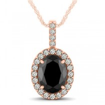 Black Diamond & Diamond Halo Oval Pendant Necklace 14k Rose Gold (2.76ct)