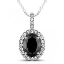 Black Diamond & Diamond Halo Oval Pendant Necklace 14k White Gold (2.76ct)