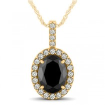 Black Diamond & Diamond Halo Oval Pendant Necklace 14k Yellow Gold (2.76ct)