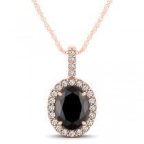 Black Diamond & Diamond Halo Oval Pendant Necklace 14k Rose Gold (0.93ct)