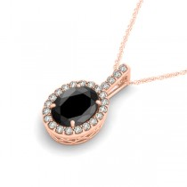 Black Diamond & Diamond Halo Oval Pendant Necklace 14k Rose Gold (0.93ct)