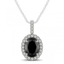 Black Diamond & Diamond Halo Oval Pendant Necklace 14k White Gold (0.93ct)