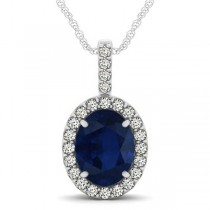 Blue Sapphire & Diamond Halo Oval Pendant Necklace 14k White Gold (3.37ct)