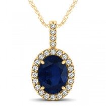 Blue Sapphire & Diamond Halo Oval Pendant Necklace 14k Yellow Gold (3.37ct)