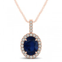 Blue Sapphire & Diamond Halo Oval Pendant Necklace 14k Rose Gold (1.17ct)