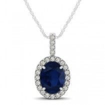 Blue Sapphire & Diamond Halo Oval Pendant Necklace 14k White Gold (1.17ct)