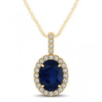 Blue Sapphire & Diamond Halo Oval Pendant Necklace 14k Yellow Gold (1.17ct)