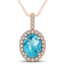 Blue Topaz & Diamond Halo Oval Pendant Necklace 14k Rose Gold (3.72ct)