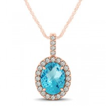 Blue Topaz & Diamond Halo Oval Pendant Necklace 14k Rose Gold (1.27ct)
