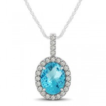 Blue Topaz & Diamond Halo Oval Pendant Necklace 14k White Gold (1.27ct)