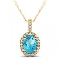 Blue Topaz & Diamond Halo Oval Pendant Necklace 14k Yellow Gold (1.27ct)