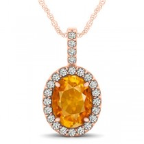 Citrine & Diamond Halo Oval Pendant Necklace 14k Rose Gold (2.62ct)