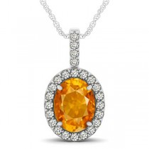 Citrine & Diamond Halo Oval Pendant Necklace 14k White Gold (2.62ct)
