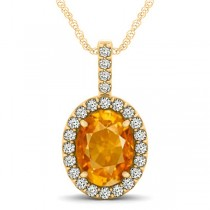 Citrine & Diamond Halo Oval Pendant Necklace 14k Yellow Gold (2.62ct)