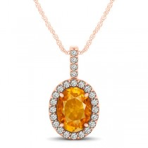 Citrine & Diamond Halo Oval Pendant Necklace 14k Rose Gold (1.02ct)