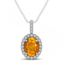 Citrine & Diamond Halo Oval Pendant Necklace 14k White Gold (1.02ct)