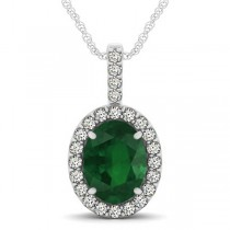 Emerald & Diamond Halo Oval Pendant Necklace 14k White Gold (2.47ct)