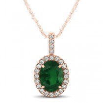 Emerald & Diamond Halo Oval Pendant Necklace 14k Rose Gold (1.02ct)