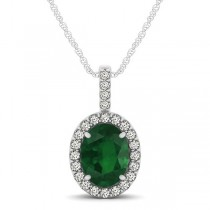 Emerald & Diamond Halo Oval Pendant Necklace 14k White Gold (1.02ct)