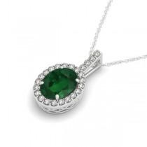 Emerald & Diamond Halo Oval Pendant Necklace 14k White Gold (1.02ct)