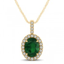 Emerald & Diamond Halo Oval Pendant Necklace 14k Yellow Gold (1.02ct)