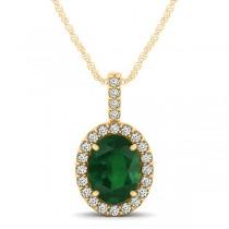 Emerald & Diamond Halo Oval Pendant Necklace 14k Yellow Gold (1.02ct)