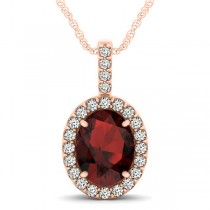 Garnet & Diamond Halo Oval Pendant Necklace 14k Rose Gold (3.02ct)