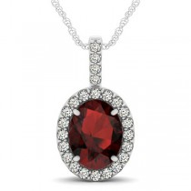 Garnet & Diamond Halo Oval Pendant Necklace 14k White Gold (3.02ct)