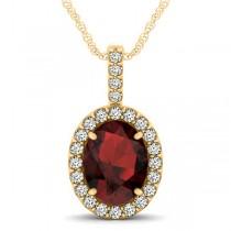 Garnet & Diamond Halo Oval Pendant Necklace 14k Yellow Gold (3.02ct)