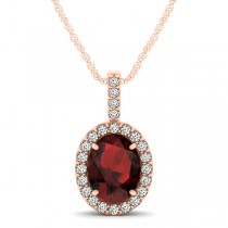 Garnet & Diamond Halo Oval Pendant Necklace 14k Rose Gold (1.17ct)
